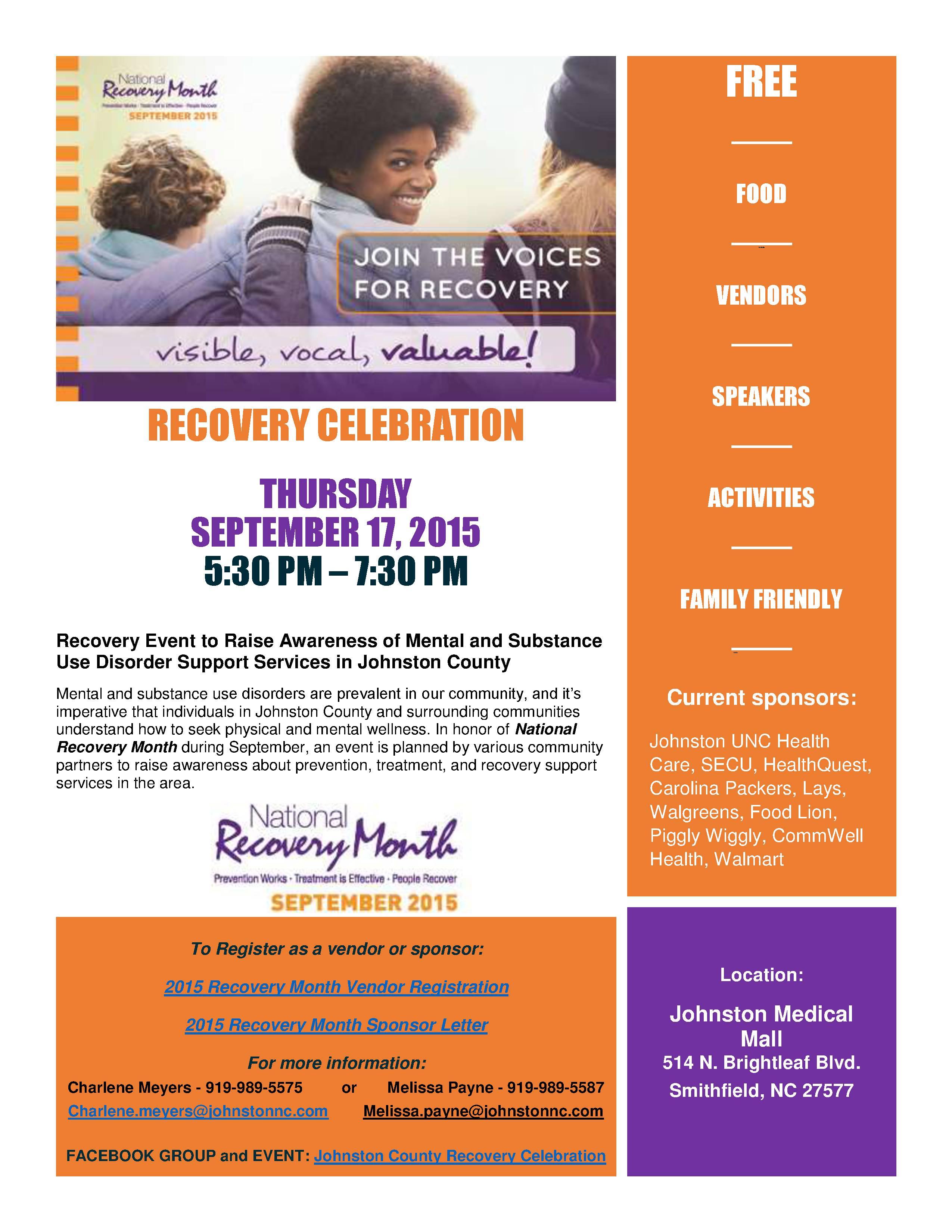 2015 Recovery Celebration Flyer